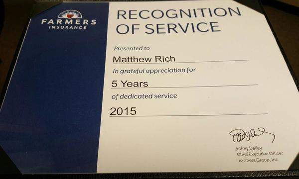 Recognition of Service certificate for Matthew Rich