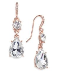 Image of Charter Club Rose Gold-Tone Crystal Drop Earrings, Created for Macy's
