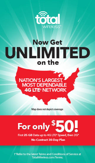 For only $50, get unlimited on the nation's largest, most dependable, 4G LTE Network with Total Wireless.