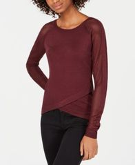 Image of Say What? Juniors' Crisscross Contrast Sweater