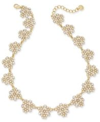 "Image of Charter Club Gold-Tone Crystal & Imitation Pearl Cluster Collar Necklace, 17"" + 2"" extender, Created"