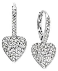 Image of Danori Pavé Heart Drop Earrings, Created for Macy's