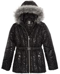 Image of S. Rothschild Big Girls Hooded Metallic-Print Puffer Jacket with Faux-Fur Trim