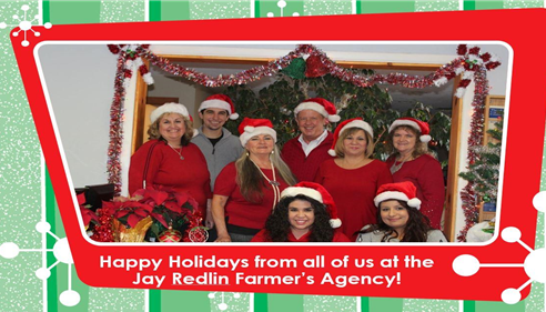 Agent and staff all wearing Santa hats, posing for a Holiday card