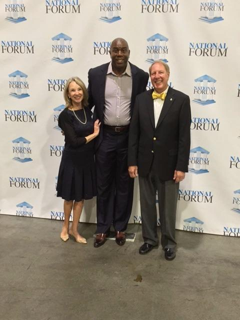 Mickey Rountree - With Magic Johnson at National Forum in Las Vegas