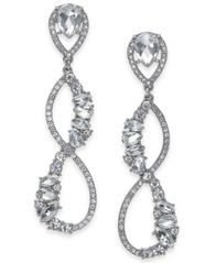 Image of I.N.C. Silver-Tone Crystal Linear Drop Earrings, Created for Macy's