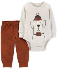 Image of Carter's 2-Pc. Dog Graphic Cotton Bodysuit & Printed Jogger Pants