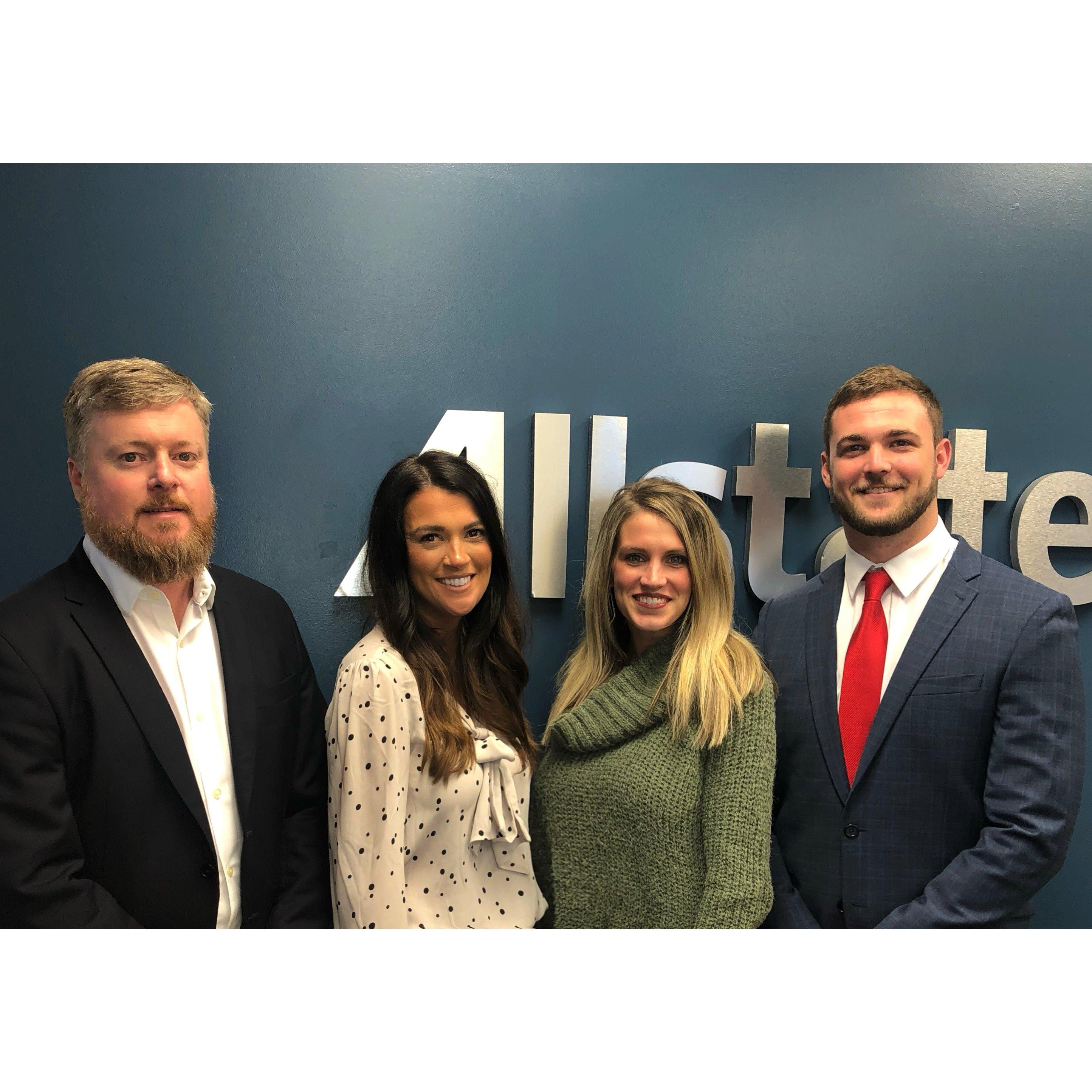 From left to right: Agency Owner- Shaw Nickels; Licensed Life & Property/Causality Agent- Jade Gaskin; Licensed Property/Causality Agent- Catherine Anderson Smith; Licensed Life & Property/Causality Agent- Chase Domino.