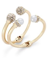 Image of I.N.C. Imitation Pearl and Crystal Fireball Hinge Bracelet Set, Created for Macy's