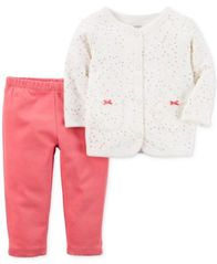Image of Carter's 2-Pc. Quilted Cardigan & Pants Set, Baby Girls