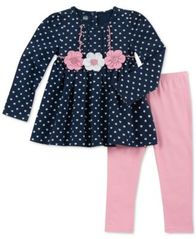 Image of Kids Headquarters Baby Girls 2-Pc. Heart-Print Tunic & Leggings Set
