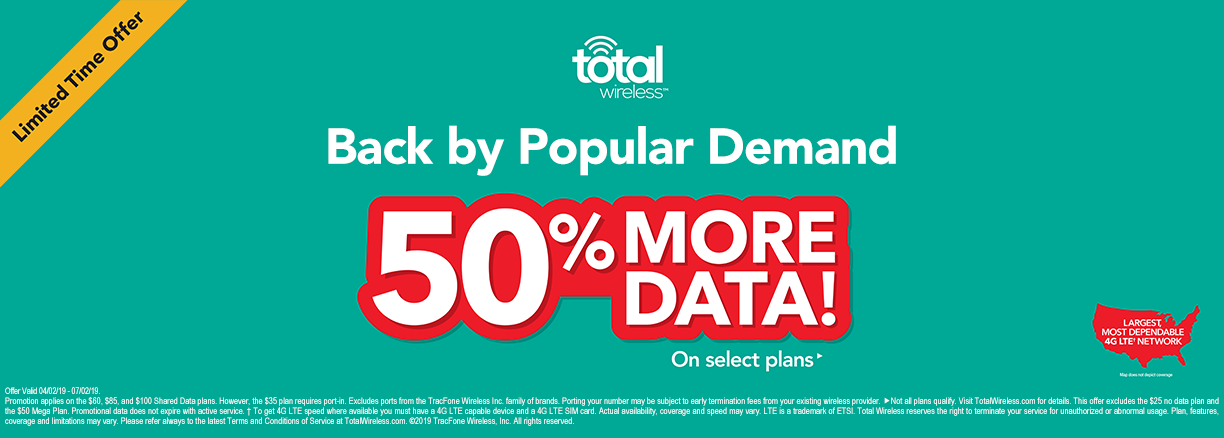 Limited Time Offer - Back by popular demand. 50% more data on select plans with Total Wireless