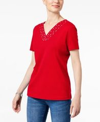 Image of Karen Scott Embellished T-Shirt, Created for Macy's