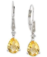 Image of Gemstone (3 ct. t.w.) and Diamond Accent Birthstone Drop Earrings in Sterling Silver
