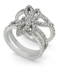 Image of I.N.C. Woman Silver-Tone Pavé Dragonfly Statement Ring, Created for Macy's