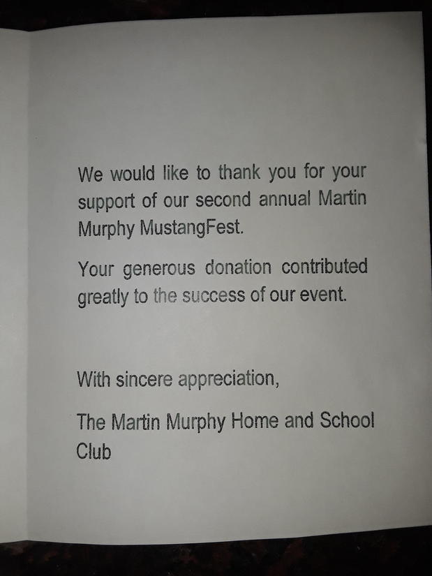 Thank you note from Martin Murphy middle school