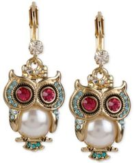 Image of Betsey Johnson Gold-Tone Ornate Owl Drop Earrings