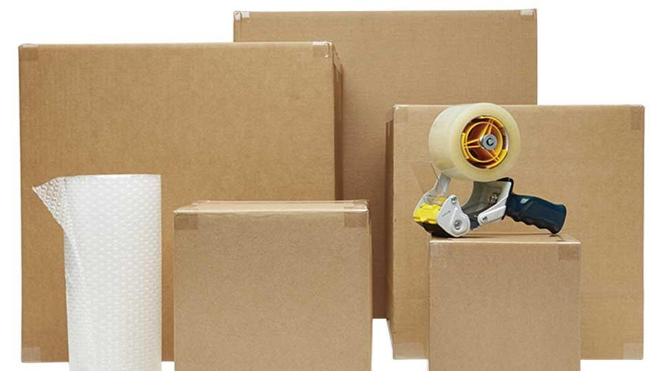 Packing tape and moving boxes