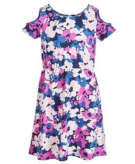 Image of Epic Threads Big Girls Printed Cold Shoulder Dress, Created for Macy's