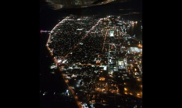 Galveston Island at night