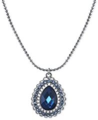 Image of 2028 Silver-Tone Blue Crystal Teardrop Pendant Necklace, a Macy's Exclusive Style