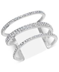 Image of I.N.C. Silver-Tone Pavé Triple-Row Cuff Bracelet, Created for Macy's