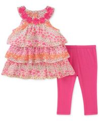 Image of Kids Headquarters 2-Pc. Tiered Ruffle Tunic & Leggings Set, Baby Girls