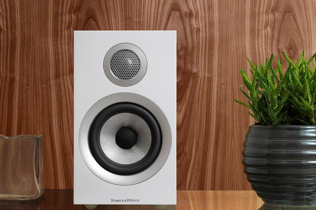 Bowers & Wilkins bookshelf speaker.