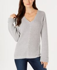 Image of Charter Club V-Neck Cuffed-Sleeve Sweater, Created for Macy's