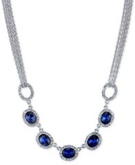 Image of 2028 Silver-Tone Blue Crystal Multi-Chain Collar Necklace, a Macy's Exclusive Style
