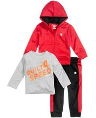 Image of Champion 3-Pc. Zip-Up Hoodie, Graphic-Print T-Shirt & Jogger Pants Set, Baby Boys (0-24 months)