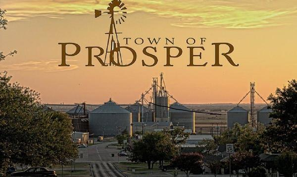 Sunset and logo for the town of Prosper, TX