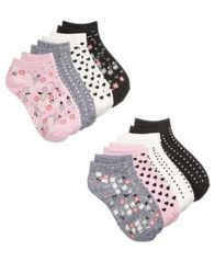 Image of 8-Pk. Floral No-Show Socks, Little Girls & Big Girls, a Macy's Exclusive Style