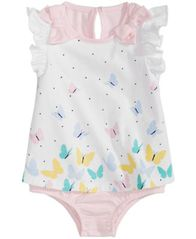 Image of First Impressions Baby Girls Cotton Butterfly Skirted Romper, Created for Macy's
