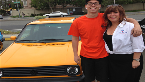 Zach and Jen with Zach's 1991 GTI at the Washington High School Car Show!