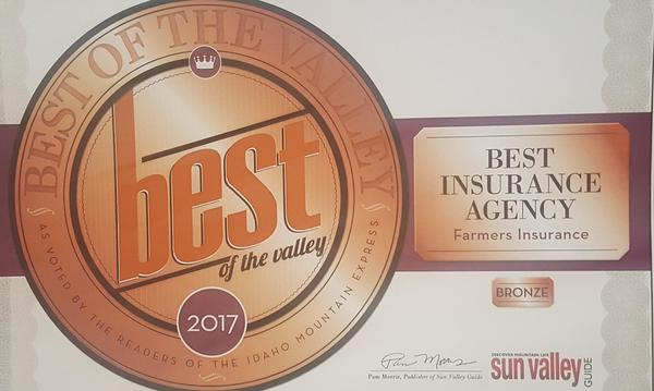 Award for Best Insurance Agency by the Sun Valley Guide