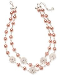 "Image of Charter Club Silver-Tone Crystal Filigree & Imitation Pearl Double-Row Collar Necklace, 18"" + 2"" ext"