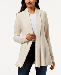 Image of Karen Scott Shawl-Collar Pointelle Cardigan, Created for Macy's