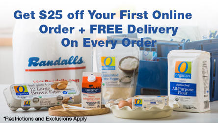 Picture of groceries - Get $25 off your first online order + free delivery on every order!