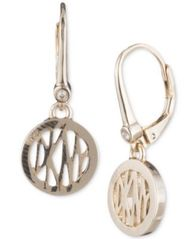 Image of DKNY Logo Circle Drop Earrings, Created for Macy's