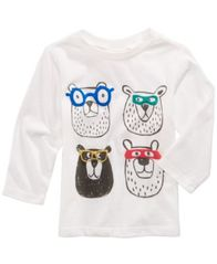Image of First Impressions Bears-Print Cotton T-Shirt, Baby Boys, Created for Macy's