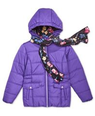 Image of S. Rothschild Big Girls Hooded Puffer Jacket with Scarf