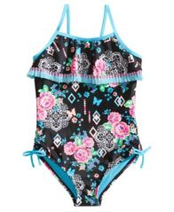 Image of Breaking Waves 1-Pc. Arizona Garden Printed Swimsuit, Little & Big Girls