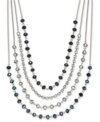 Image of I.N.C. Silver-Tone Multi-Row Jet Stone and Crystal Statement Necklace, Created for Macy's