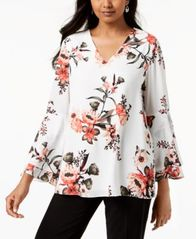 Image of Alfani Printed V-Neck Poet-Sleeve Top, Created for Macy's
