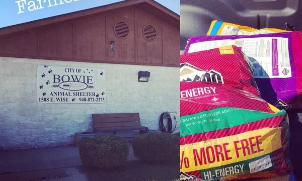 The exterior of an animal shelter and an image of dog food