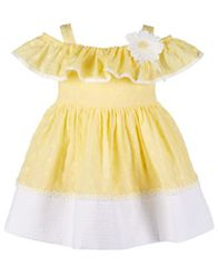 Image of Bonnie Baby Baby Girls Embroidered Eyelet Peasant Dress