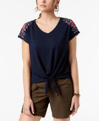 Image of Style & Co Embroidered Tie-Front Top, Created for Macy's