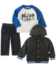 Image of Kids Headquarters 3-Pc. Hooded Jacket, Blast Off T-Shirt & Jeans Set, Baby Boys