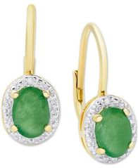 Image of Emerald (1-1/2 ct. t.w.) & Diamond Accent Drop Earrings in 18k Gold-Plated Sterling Silver